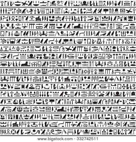Hieroglyphs Of Ancient Egypt Black Horizontal Design.