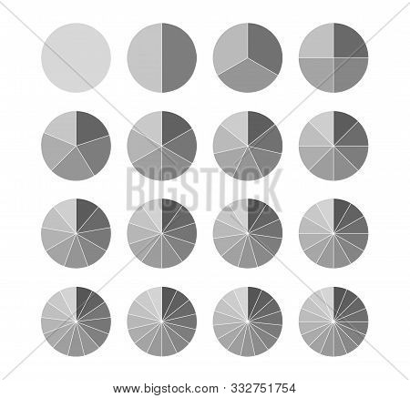 Segmented Circles Set Isolated On A White Background.big Set, Of Wheel Diagrams. Various Number Of S