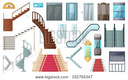 Staircase And Lift Vector Cartoon Set Icon.vector Illustration Stair And Escalator.isolated Cartoon