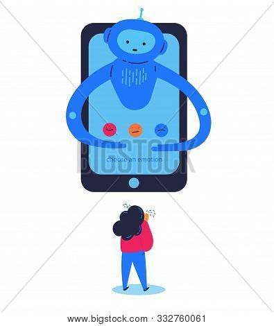 Chat Bot Provides Psychological Support To The Girl Flat Vector Illustration.girl Feeling Bad And As