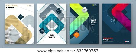 Set Of Brochure Cover Template Layout Design. Corporate Business Annual Report, Catalog, Magazine, F