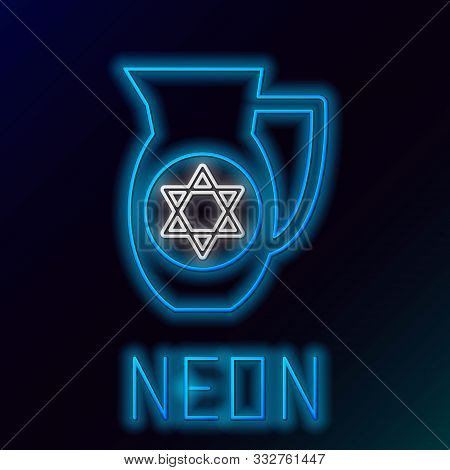 Blue Glowing Neon Line Decanter With Star Of David Icon Isolated On Black Background. Pottery Jug. O
