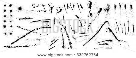 Black Ink Spots Set. Blot Texture, Inked Splatter Dirt Stain Spatter Spray. Overlay Illustration Ove