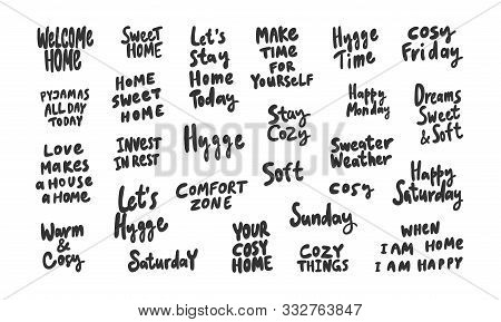 Cosy, Friday, Hygge, Home, Stay, Relax, Enjoy, Dreams, Time, Weekend, Soft, Saturday, Sunday. Sticke