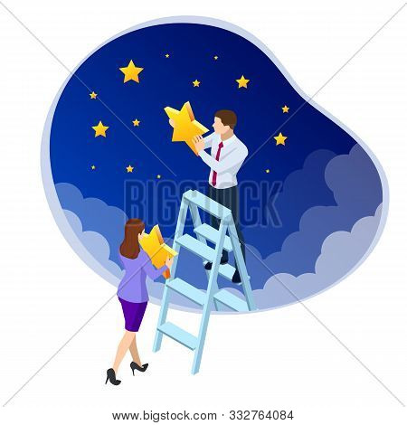 Isometric Reaching The Stars. Reach Your Dream, Aspirations, And Solutions. Businessman And Business