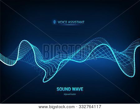 Voice Assistant Concept, Sound Wave. Vector Equalizer. Microphone Voice Control Technology, Voice An