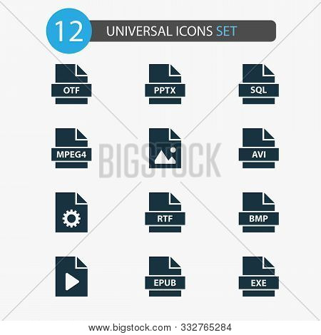Types Icons Set With Image, System, Exe And Other Document Elements. Isolated Vector Illustration Ty
