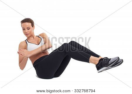 Young Woman Doing Abs Exercises, Russian Twist, Isolated On White