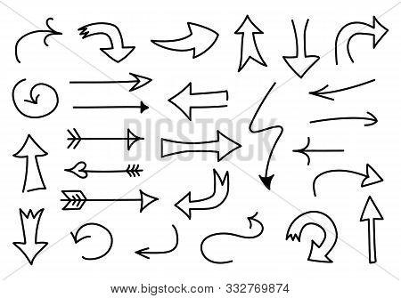 Big Set Of Doodled Arrows. Set Of Outline Sketch Isolated On White Background. Hand-drawn Navigation