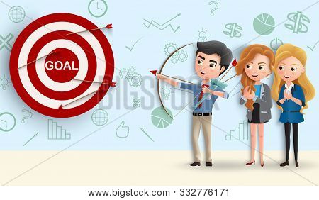 Business Character Team Goals Vector Concept. Business People Aiming Target Goal In Dart By Using Ar