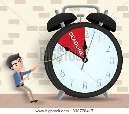 Business Deadline Vector Character Concept. Man Business Character Pulling Alarm Clock Arrow Before
