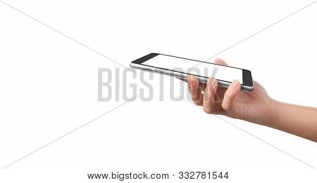 Hands Holding A Tablet Touch Computer Gadget With Isolated Screen