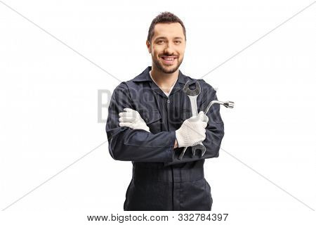 Mechanic holding car repair equipment isolated on white background