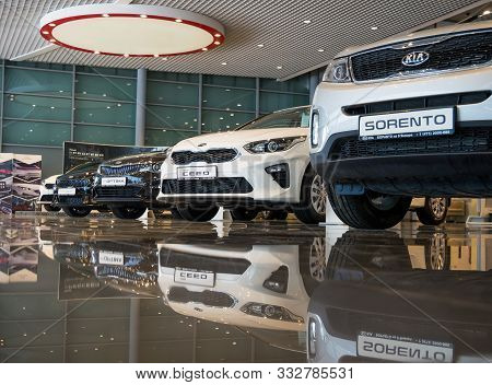Voronezh, Russia -  June 05, 2019: New Cars Of The Kia Lineup  Boravto Motor Show, Voronezh