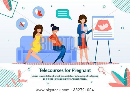 Telecourses, Seminars And Lessons For Pregnant Ladies Trendy Flat Vector Advertising Banner, Promo P