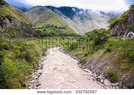 Urubamba river near Machu Picchu (Peru) following the Andes Mountains in Peru between Cusco and Machu Picchu. Peru. South America.