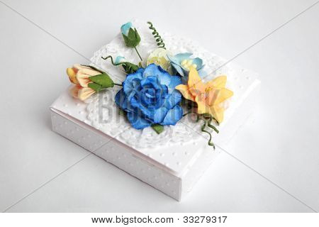 White box with flowers