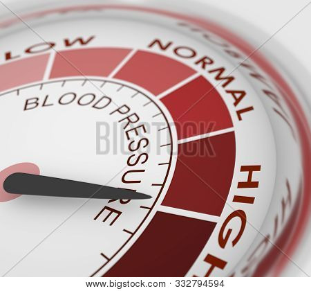 High Blood Pressure Concept. Color Scale With Arrow. The Measuring Device Icon. Infographic Gauge El