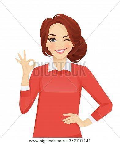 Casual Business Woman Gesturing Ok Sign Isolated Vector Illustration