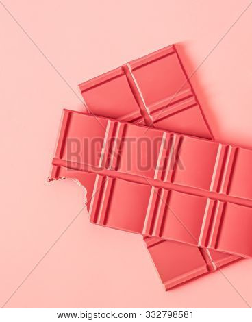 Pink Ruby Chocolate Bars, Made From Eco Natural Ruby Cocoa Beans, A New Kind Of Chocolate, On A Pink