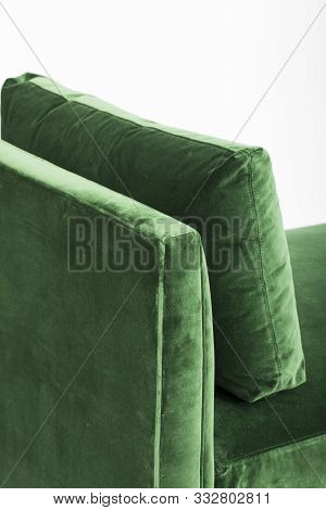 Green Sofa Isolated On White Background. A Daybed Couch On A White Background