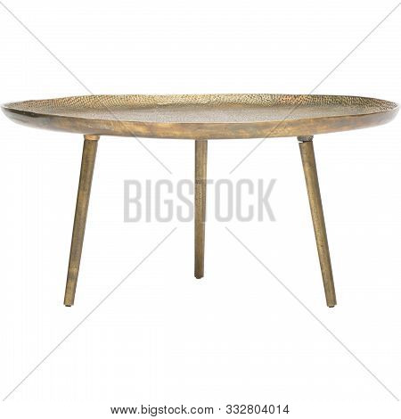 Round Table With Wooden Legs On A White Background
