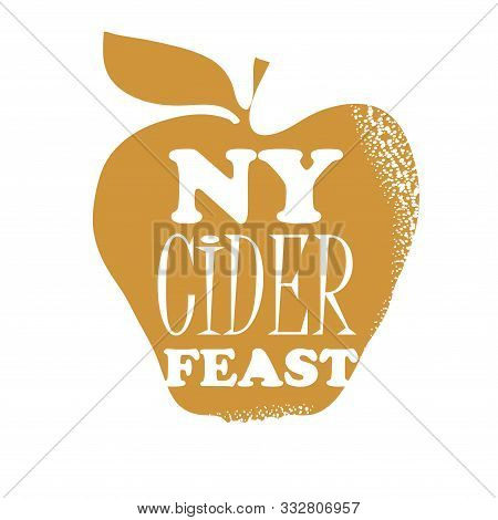 Poster For The New York Cider Week Festival. Vector Illustration. Apples And Bottle Of Cider. Text N