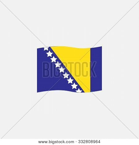 Bosnia And Herzegovina Flag Colors Flat Icon, Vector Sign, Bosnian Waving Flag Colorful Pictogram Is