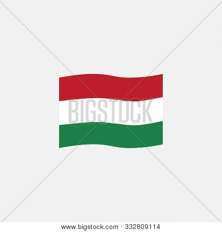 Hungary Flag Colors Flat Icon, Vector Sign, Hungary Waving Flag Colorful Pictogram Isolated On White