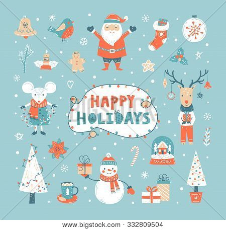 Happy Holidays Set With Vector Hand Drawn Mouse, Santa Claus, Deer, Snowman, Gifts,  Xmas Tree, Holi
