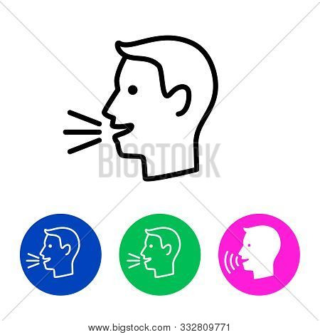 Man Talk Control. Speak Out Icon Concept, Vector Lines Speaking Symbol, Linear Man Voice Or Speech P
