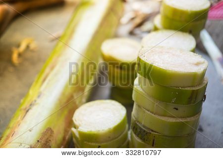 The Trunk Of A Banana Is Cut Into Floating Pieces. Used For Make Krathong On Loy Krathong Day In Tha