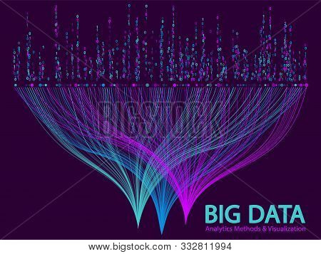 Big Data Analytics Methods And Visualization Concept Vector Design. 0 And 1 Binary Matrix Data Visua