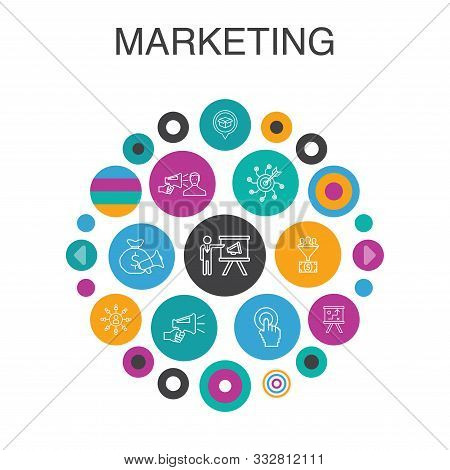 Marketing Infographic Circle Concept. Smart Ui Elements Call To Action, Promotion, Marketing Plan, M