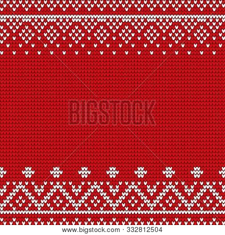 Embroidery Pattern Vector. Red And White Embroidered Decoration, Closeup Of Stitches Ornaments. Orna