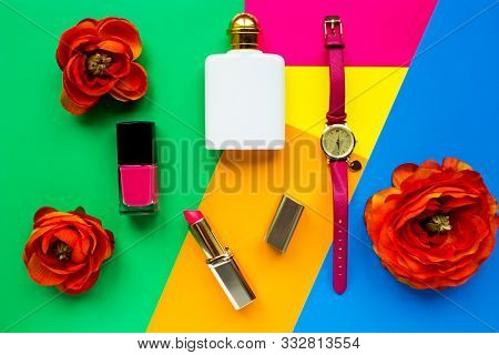 Cute Feminine Accessories. Flat Lay, Top View Woman Accessories (watch, Lipstick Perfume). Spring Su