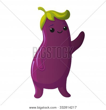 Cute Eggplant Character. Kawaii Vegetable Vector Characters Isolated On White Background