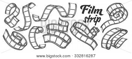 Film Strip For Camera Or Projector Ink Set Vector. Collection Of Blank Old Film Reel Ribbon In Spira