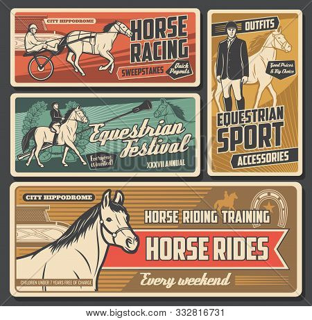 Equestrian Sport Vector Posters With Race Horses, Jockeys And Riders, Thoroughbred Racehorse, Hippod