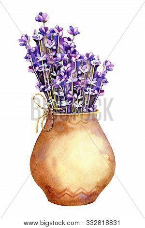 A Bouquet Of Lavender Flowers, Twigs Tied With Twine, A Rope In A Clay Ceramic Pot. Hand Drawn Water