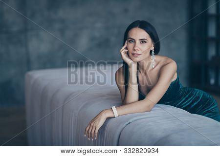 Photo Of Tenderness Classy Lady Leaning On Comfortable Sofa Waiting Boyfriend Home Wear Teasing Clas