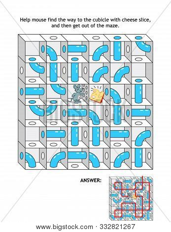 Maze With Cheese And Mouse, Or Rat: Help Mouse Find The Way To The Cubicle With Cheese Slice, And Th