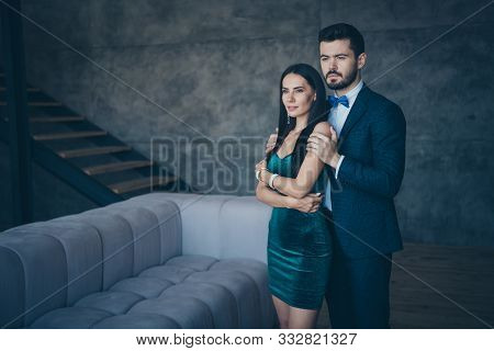 Photo Of Two Worried Stylish Trendy People Fiance Guy And Bride Lady Standing Piggyback Position Rom