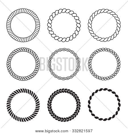 Round Rope Frames. Cable Circle Shapes Strength Decorative Vintage Ropes Vector Collection. Illustra