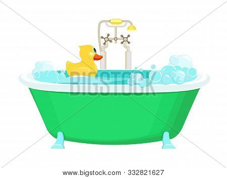 Bathroom Yellow Duck. Relax Water Foam Bubbles With Rubber Duck Shower Vector Picture Cartoon Backgr