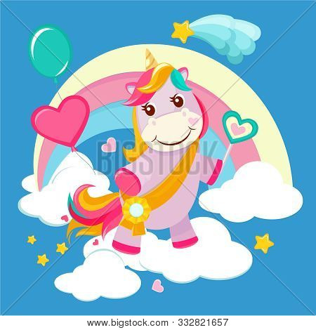 Unicorn Background. Fairy Tale Cute Little Horse Standing On Fantasy Rainbow Magical Birthday Vector