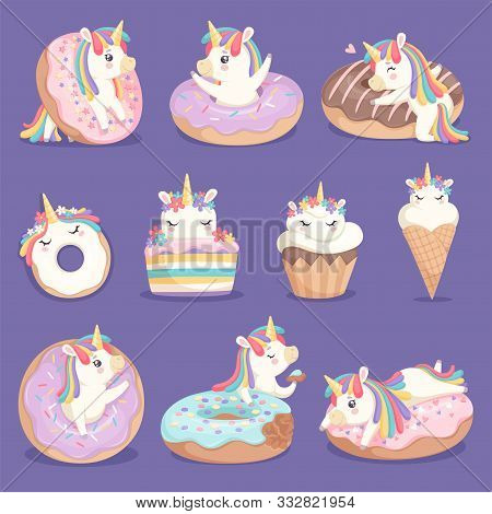 Unicorn Donuts. Cute Face And Characters Of Magic Rose Little Pony Unicorn With Cakes Donuts Ice Cre