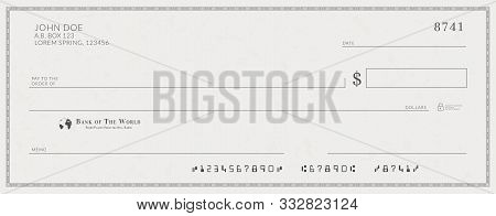 Blank Bank Check Template. Fake Cheque Page Mockup.