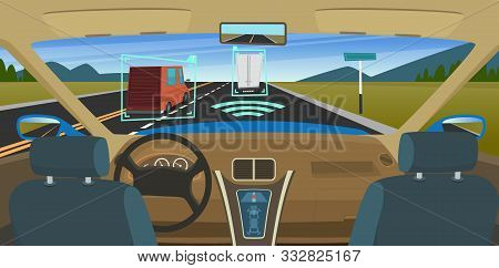 Autonomous Car. Feature Vehicles New Smart Computer Technology For Safety Driving Sensors Systems Hu