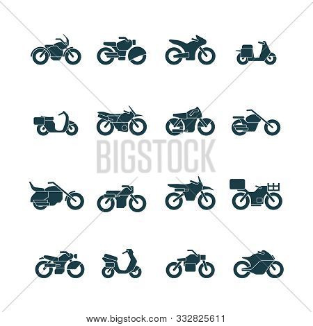 Street Bikes Symbols. Silhouettes Of Urban Transport Cycle Touring Motorbike Chopper Vector Collecti